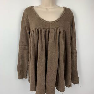 Free People XS Shirt Long Sleeve Brown Flowy